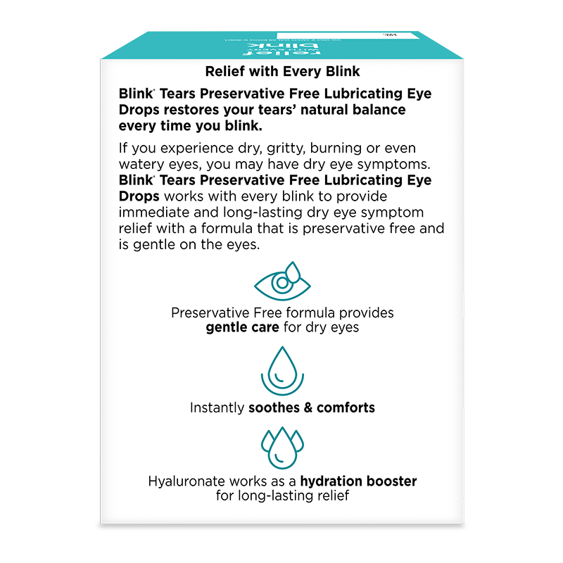 Blink® Tears Preservative Free Lubricating Eye Drops package and product summary.