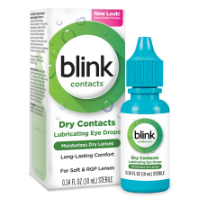 Blink Contacts Lubricating Eye Drops package, bottle and product summary.