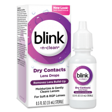 Blink-N-Clean Lens Drops package and product summary.